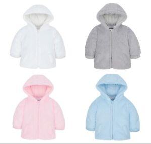 1a4d1f06af23 Baby Coat Jacket Hooded Snuggle Fleece Pink Blue Grey White 3-6 6-9 ...