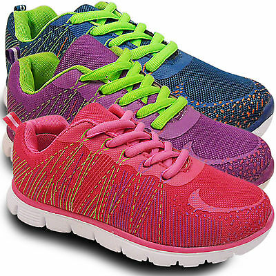 New Ladies Neon Lace Up Shock Absorbing Gym Sports Fitness Trainers Shoes Size Reisen