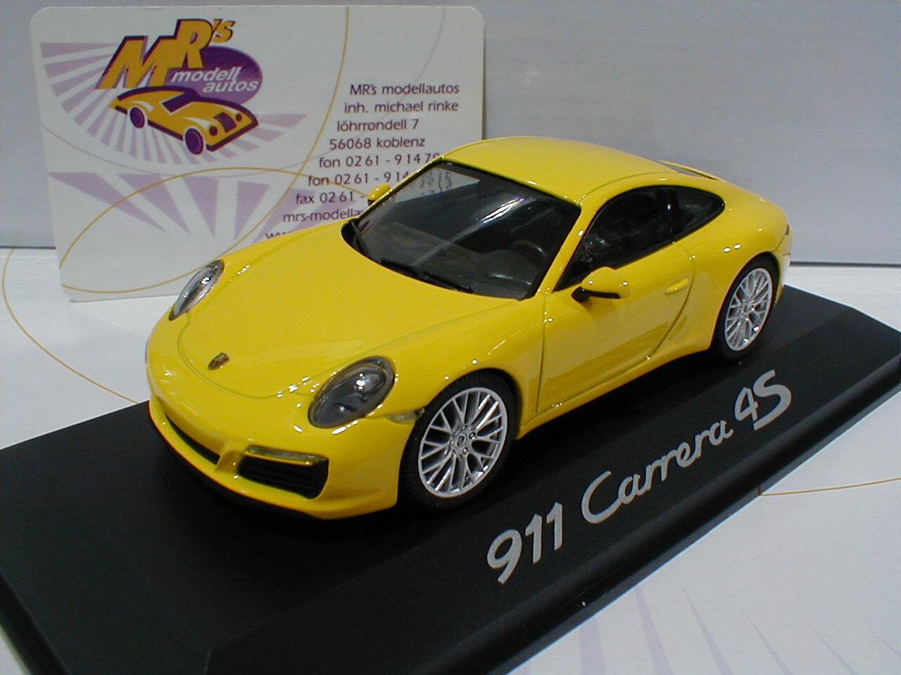 Herpa wap0201110g PORSCHE 911 Carrera 4s Coupe Year 2016 in  Yellow  1 43