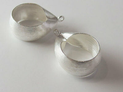 Karen Hill Tribe Silver 2 Brushed Teardrop  Pendants  19x22 mm.