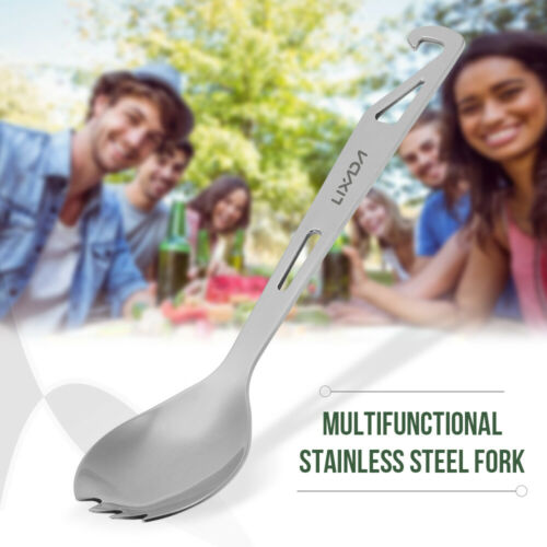 Details about  /Lixada Stainless Steel Spork with Bottle Opener Lightweight Outdoor Dinner