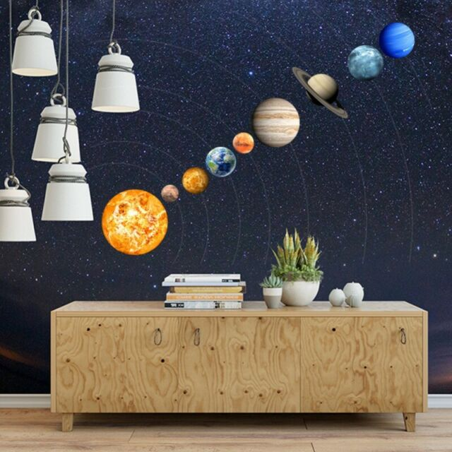 SOLAR SYSTEM Wall Stickers 9# Glow In The Dark  Planets Mars Decal Kids Gift
