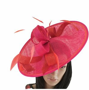 Image Is Loading Cerise Pink And Orange Wedding Ascot Disc Hatinator
