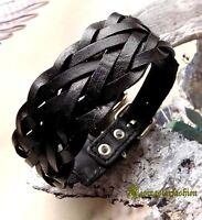 Men Cool Classic Braided Hip Hop Biker Surfer Leather Fashion Bracelet Wristband