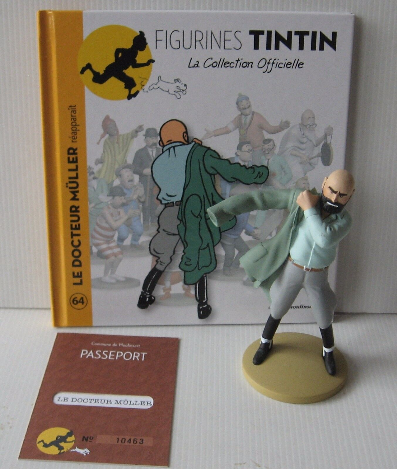FIGURINES RESIN TINTIN DOCTOR MULLER REAPPEARS NO.64+CERTIFICATE+BOOKLET 2013