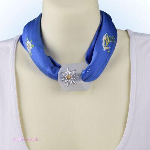 Trachtentuch Halstuch Tuch blau Paar Edelweiß Horn mit Herz Anhänger Schalhalter