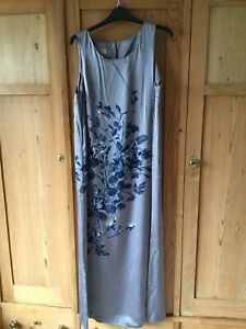 Details about Monsoon Silk Long Grey Shift Dress Size 14 Used