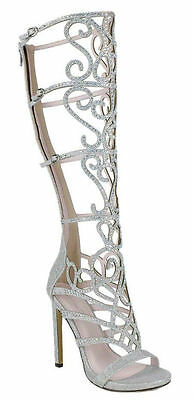 New Knee High Heel Sandals Open Toe Rainbow Rhinestone Crystal Prom Bridal Shoes