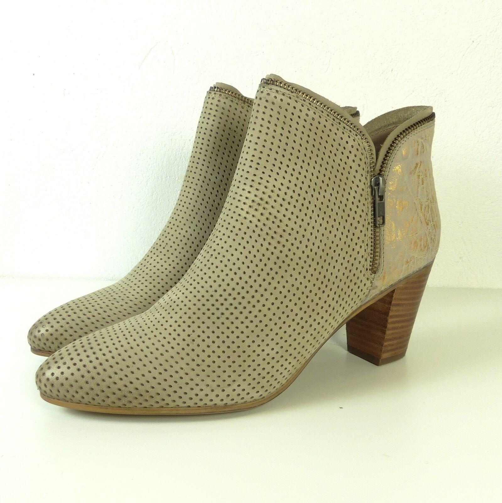 SPM Stiefeletten Ankle Boots Lochmuster Beige Metallic Gr. EUR 42 (DW2)