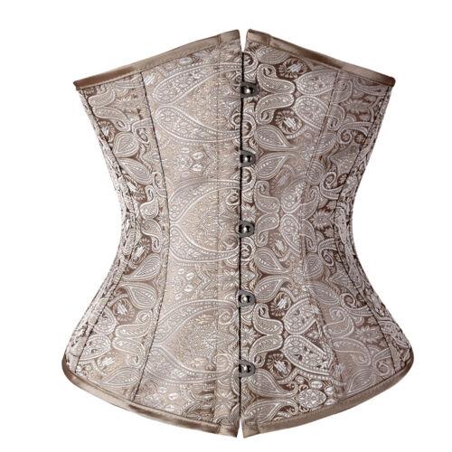 Ladies Lace Up Boned Underbust Corset Bustier Waist Cincher Body Shaper Costumes
