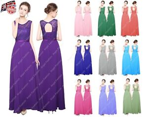 New-Long-Chiffon-Lace-Top-Formal-Evening-Party-Prom-Bridesmaid-Dresses-UK-8-24