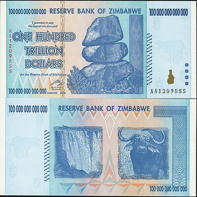 Zimbabwe P 91 100 Trillion Bill Free Zambibwe Quadrillion Parody Ebay