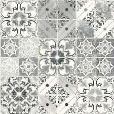 Wallpaper Debona Luxury Valencia Geometric Tile / Tiles - Black & Silver - 5010