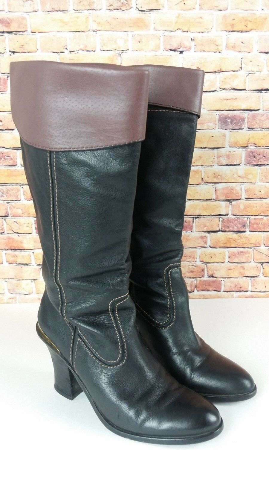 LUCKY BRAND Size 7 Medium Womens Black Leather LK-Elena Mid Calf Pull On Boots