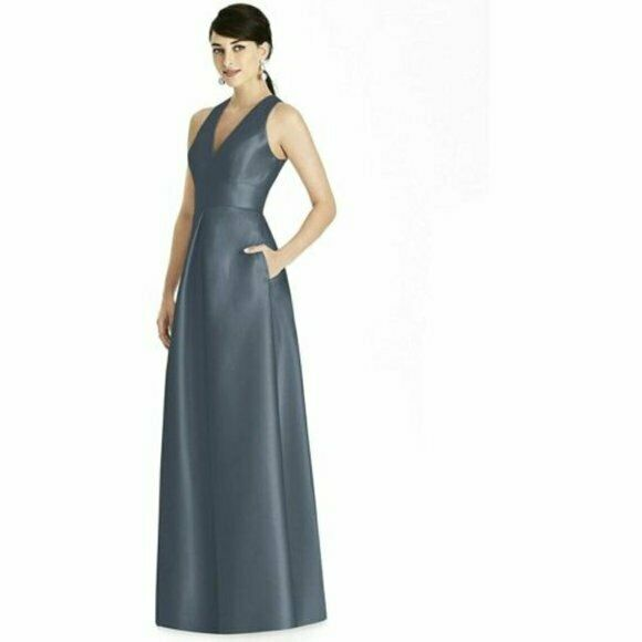Alfred Sung Bridesmaid Formal Satin Dress Silverstone Gown Formal