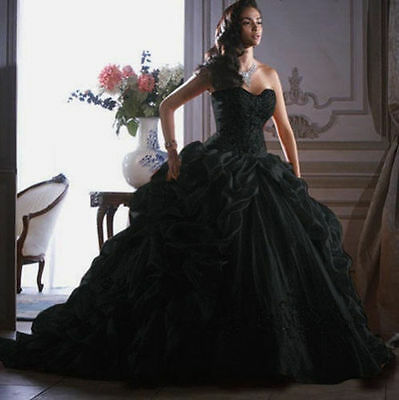Masquerade Black Wedding Dress Bridal Evening Prom Ball Gown Custom or size2-28