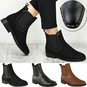 1687a5cd2f0 Details about Womens Ladies Flat Studded Chelsea Ankle Boots Casual Elastic  Pull On Shoes Size