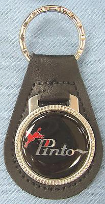 Vintage Black Ford PINTO Black Leather USA Keyring Key Fob Key Holder