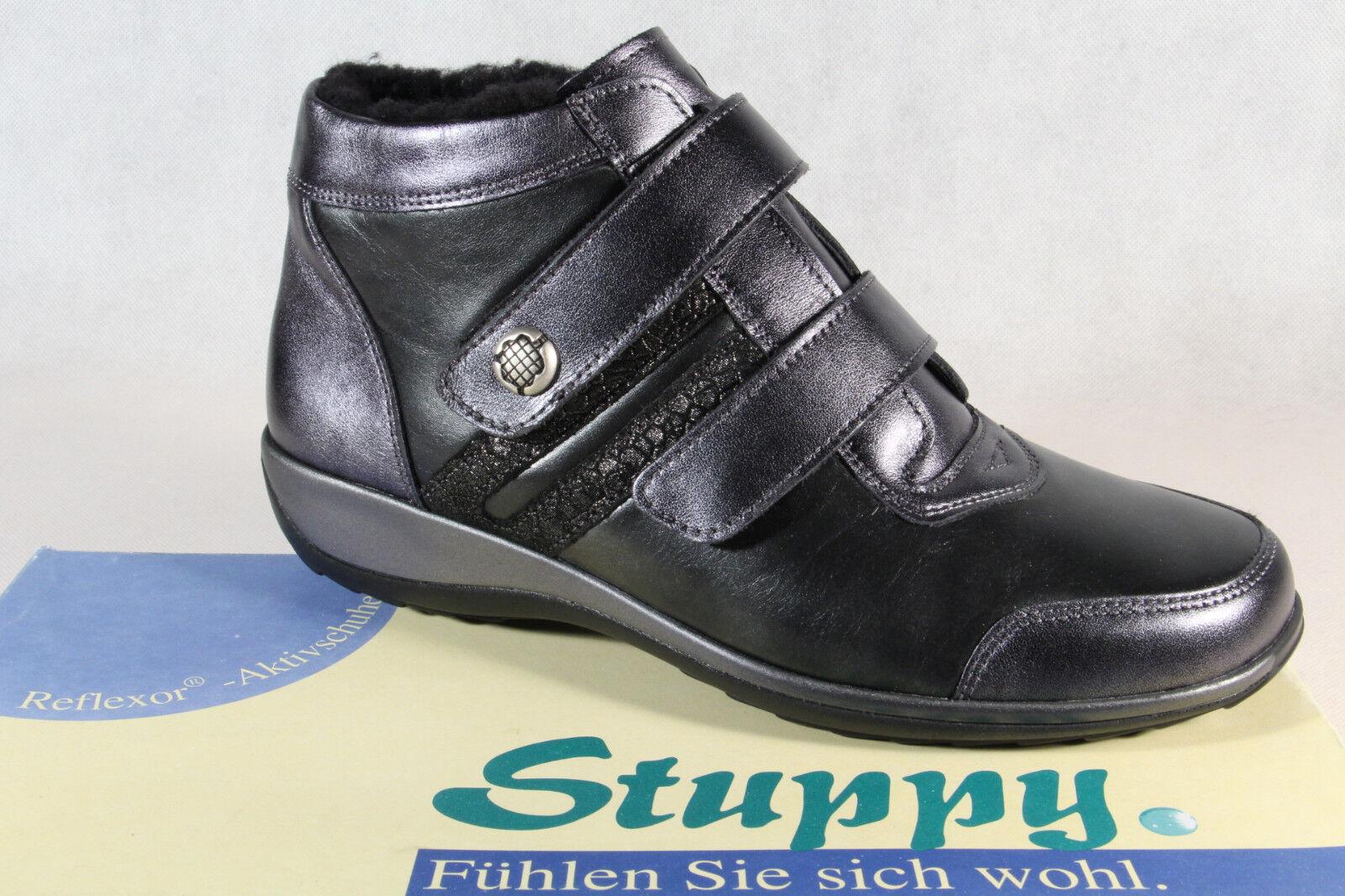 Stuppy Damen Stiefel Stiefelette Winterstiefel Leder schwarz  silber 9891 NEU