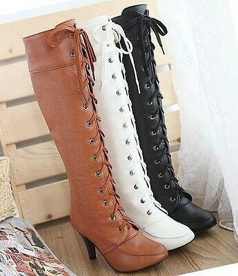 Women's lace-up high heel knee high boots shoes Stilettos Platform round toe hot