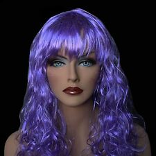 """18"""" Long Lavender Synthetic Curly Wavy Hair Wig for Cosplay Party Fancy Dress"""