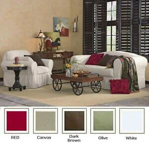 All Cotton 2-piece Ruffled Sofa Couch or Loveseat or Chair Slip cover 5 COLORS
