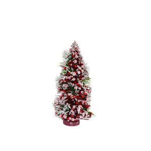 Addobbi Natalizi Ebay.Albero Di Natale Con Bacche Rosse Innevato Cm40 Da Addobbi Decorazioni Natalizie Ebay
