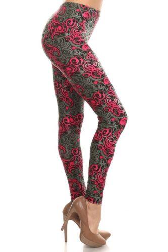 2-10 Polyester Spandex Fuchsia Hypnotic Swirl KYRA RESERVED Leggings S-L