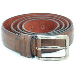 Cintura Uomo In Pelle Squamata Cocco H2,5cm Tinta Unita Marrone con Fibbia in Me
