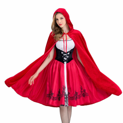 Women Halloween Little Red Riding Hood Cape Party Fancy Dress Adult Costume