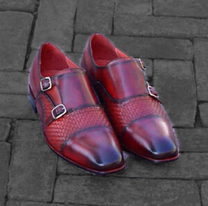 Shoes Double Monk Toe Woven Formal Burgundy Cap Mens Handmade Dress Leather Zqaxvw7vO
