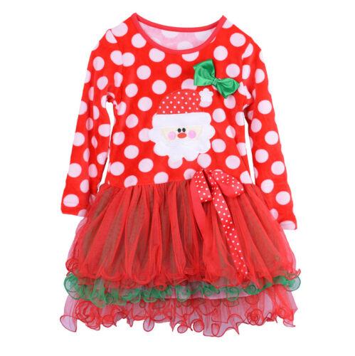 UK SELLER Babies Kids Girls Christmas Fancy Dress Santa Polka Dot Tutu Xmas
