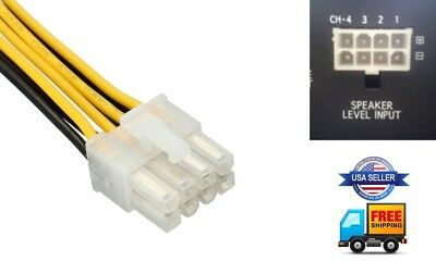 8-Pin Speaker High Level Input Plug Harness KENWOOD Amplifier KAC-6407 on