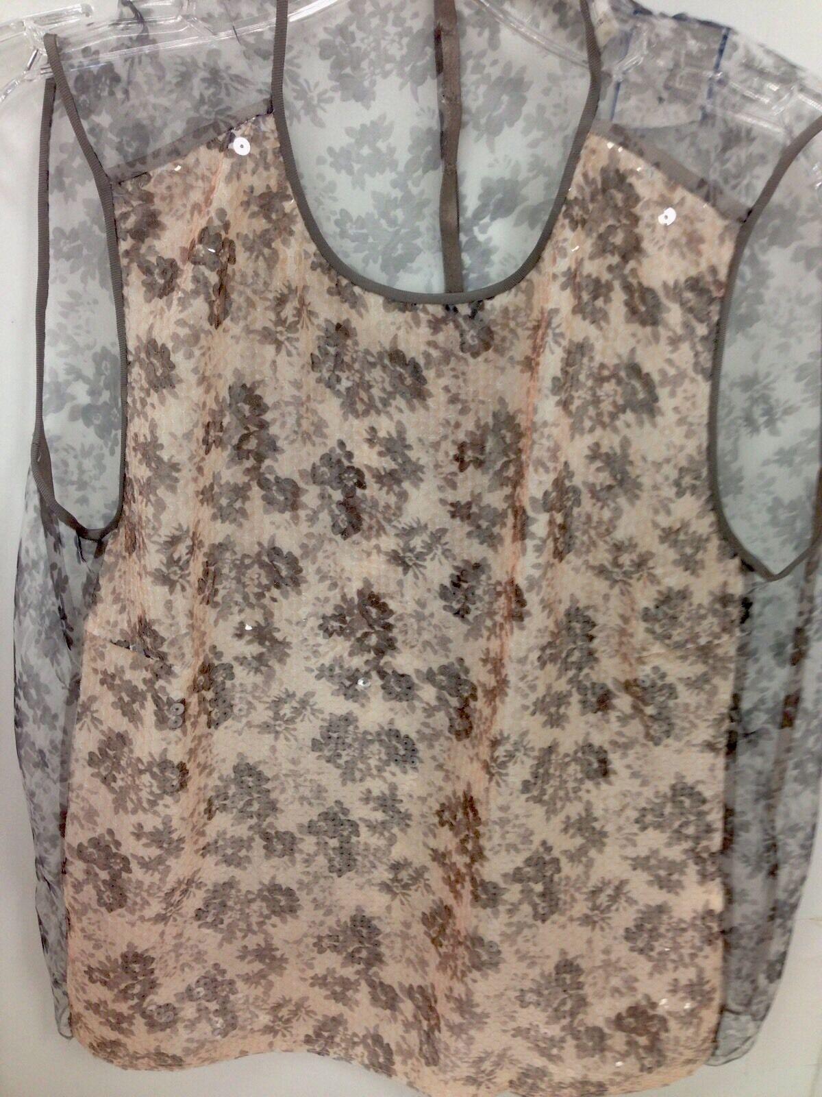 Marc Jacobs Top grau Sequin Sheer Flower Front Größe 2