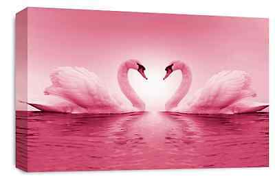 Love Art Picture Purple White Swans Heart Kissing Canvas Wall Print Large