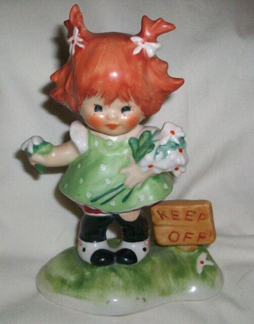 Goebel CHARLOT BYJ REDHEAD Girl Figurine Keep Off The Grass Flowers West GERMANY
