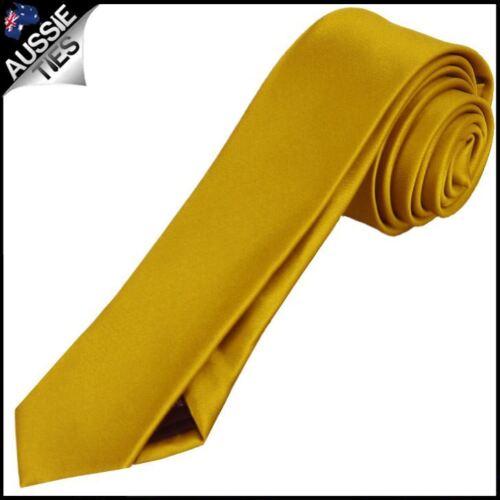 Mens Classic Gold Plain Skinny Necktie