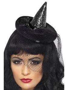 Mujer-Disfraz-de-Halloween-Mini-Sombrero-Bruja-en-Diadema-Negro-Brillo-Nuevo-Por