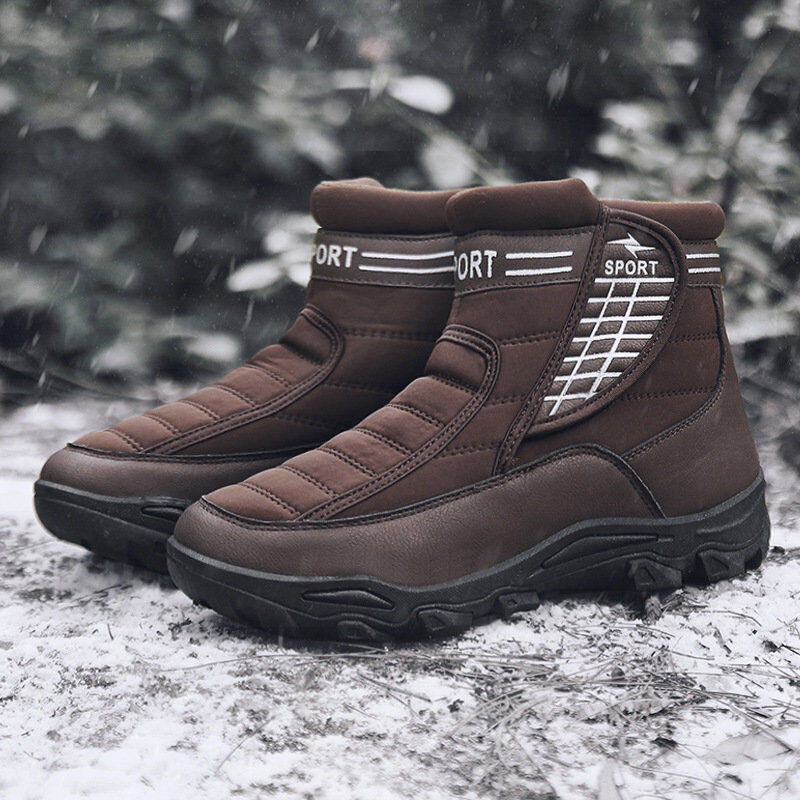 Winter Men's High Top Ankle Boots Hiking Climbing shoes Warm Black Pull on Sz
