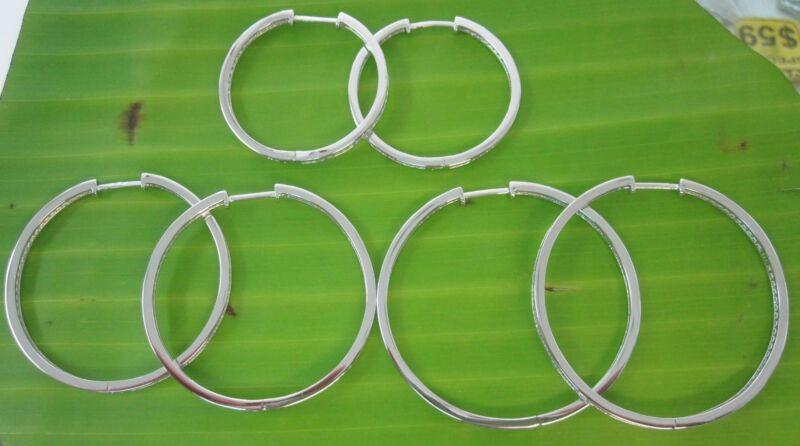 "100% Real 925 Sterling Silver ""2.5mm White Cz"" (30 40 45mm) Hoop Earrings - Girl"