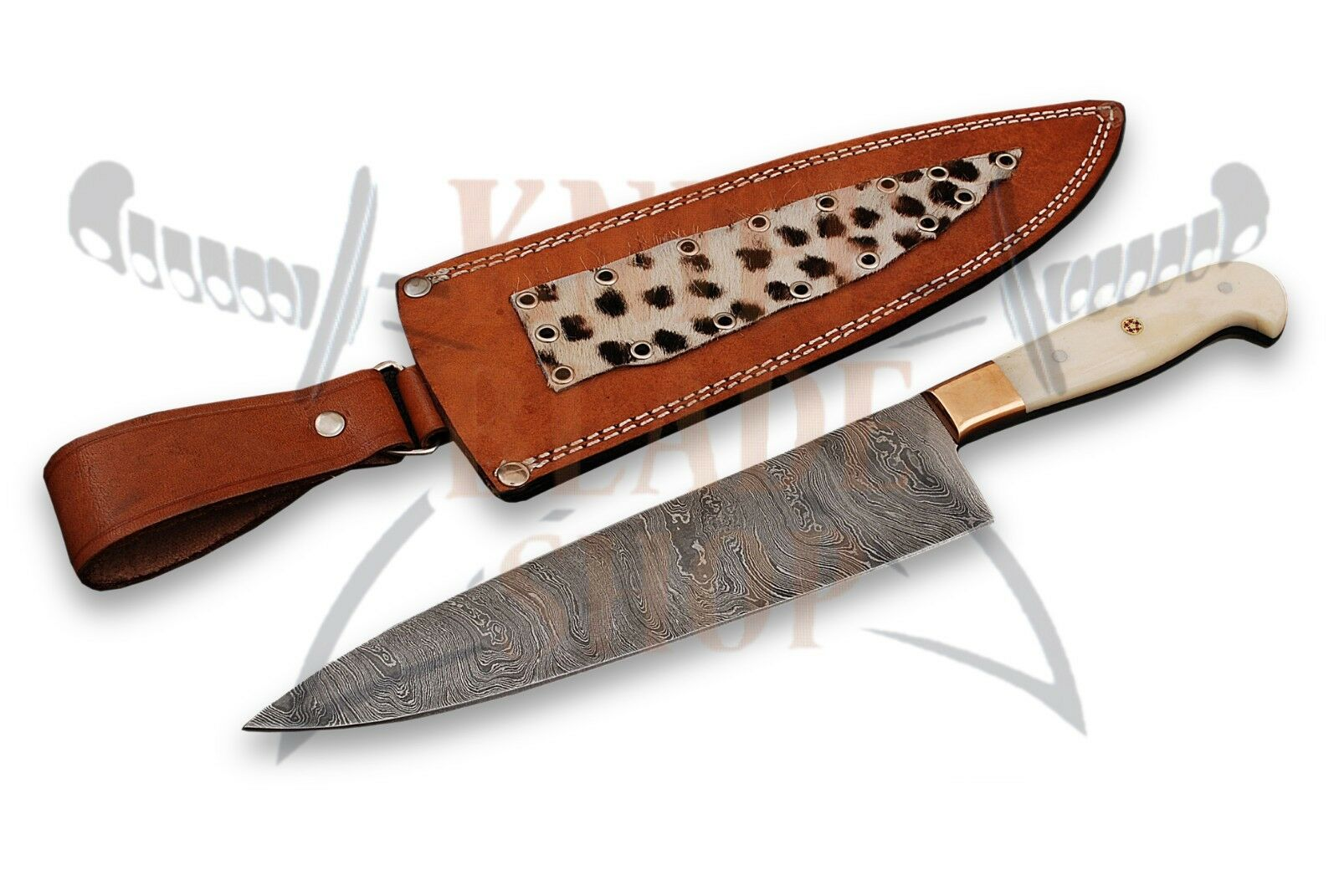 Damascus steel BLADE  KITCHEN KNIFE CHEF KNIFE SMOOTH BONE HANDLE
