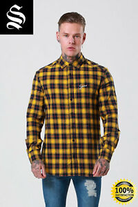 453a7136a3b SNRS ATTIRE Yellow Black Script Flannel Check Shirt - Gym Muscle ...