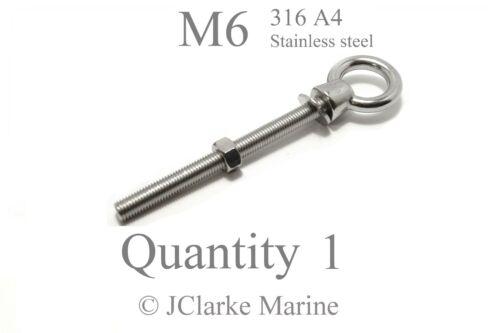M6 Eye bolt & nut DIN 580 marine stainless steel (316 A4) longshank long thread
