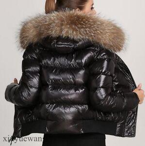 New-Womens-Genuine-Fur-Hooded-Leather-Short-Coats-Waterproof-Winter-Warm-Jackets