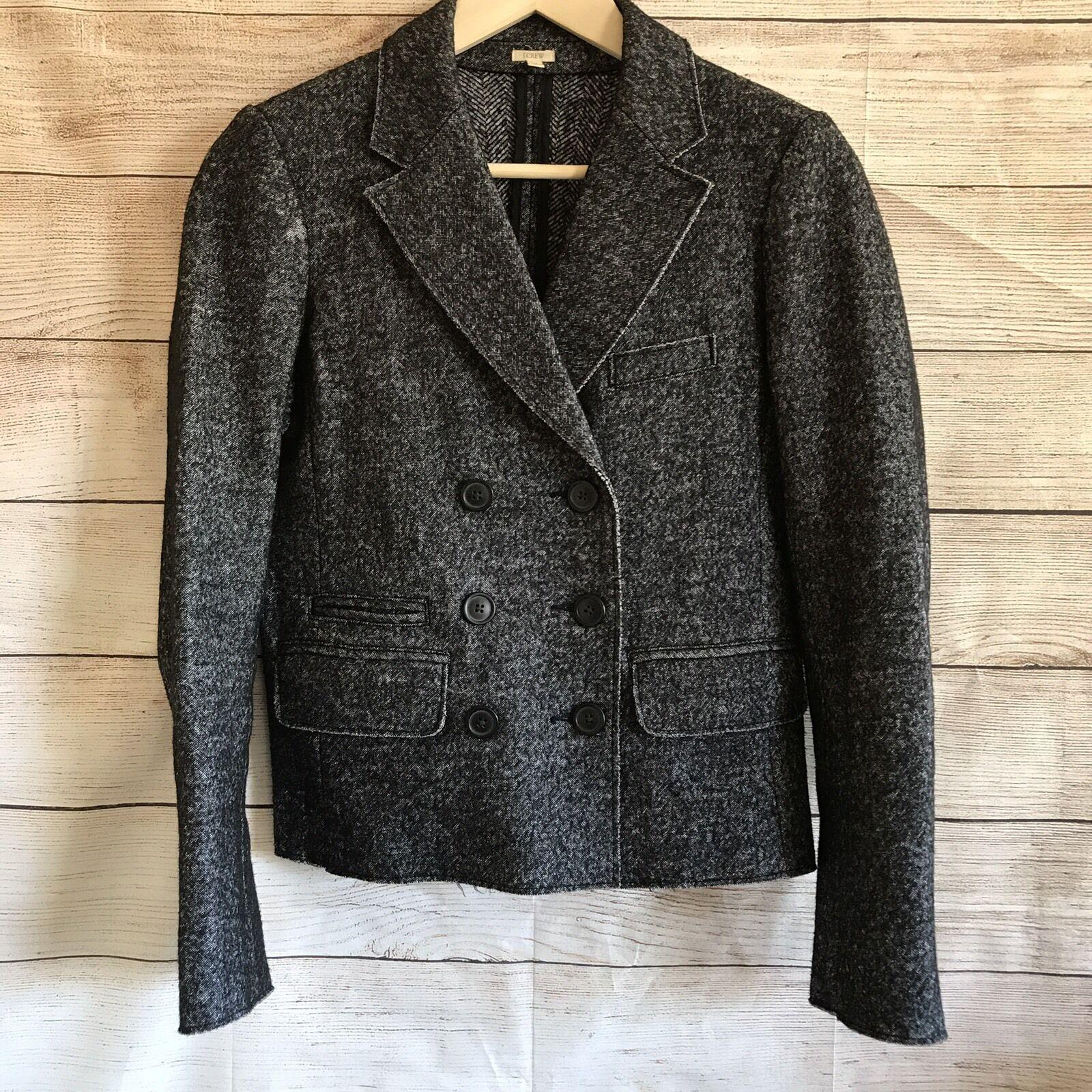 J Crew Womens Tweed Fekete gyapjú bokacsizma méret 4 Vastag kültéri viselet munkához