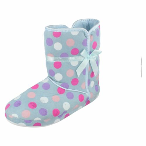 Ladies X2019 textile blue//multi spotted slipper boot By spot on Retail £9.99