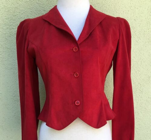 Halston Vintage Red UltraSuede Jacket 1970s