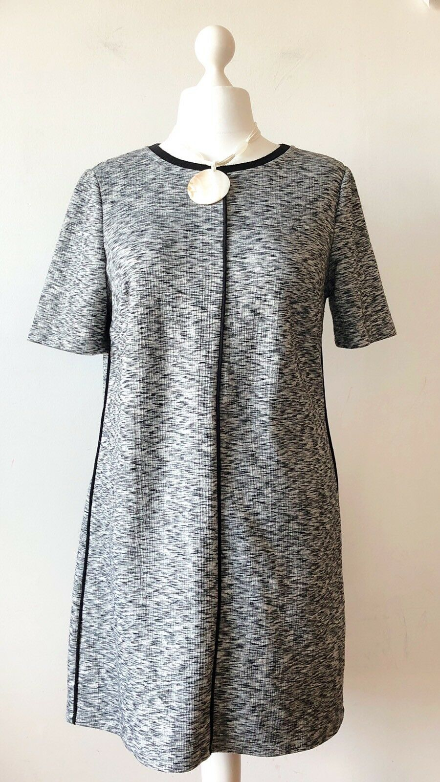 OLIVER BONAS Ladies Grey Marl Sport Luxe Work Career Dress 14 Aline Smart Casual