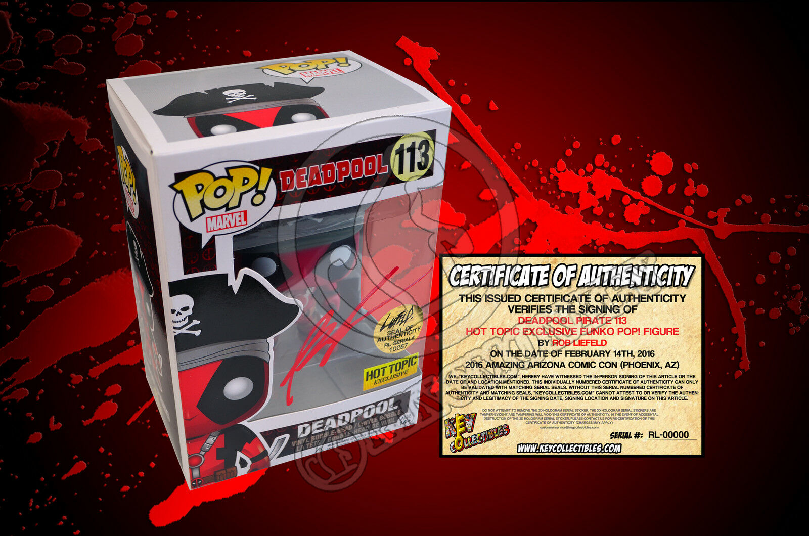 Deadpool Pirate 113 Hot Topic Exclusive Funko POP  Figure  SIGNED BY ROB LIEFELD