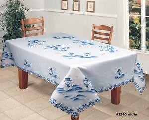 Creative Linens Holiday Christmas Snowman Fabric Tablecloth White Blue Ebay